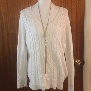 Chaps cream and gold fleck , cable front sweater